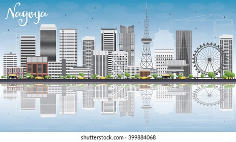 Nagoya Skyline with Gray Buildings, Blue Sky and Reflections. Vector Illustration. Business and Tourism Concept with Modern Buildings. Image for Presentation, Banner, Placard or Web Site.