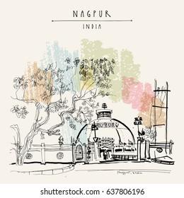 Nagpur, Maharashtra, India. Deekshabhumi - Buddhist temple. Travel sketch. Vintage hand drawn postcard or poster template. Vector illustration