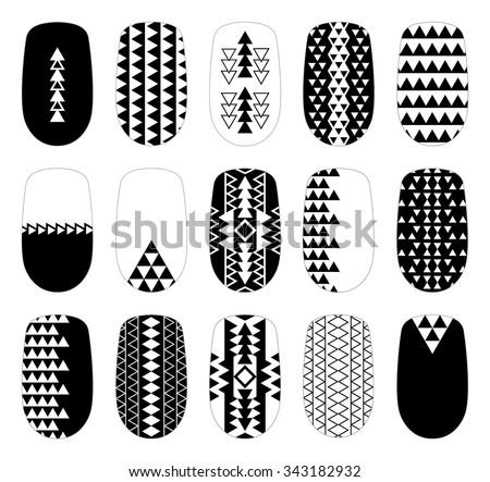 Nail Art Blackandwhite Geometric Design Templates Stock Vector