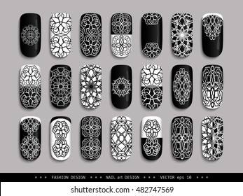 nail art design black white a set of overhead nail labels stickers