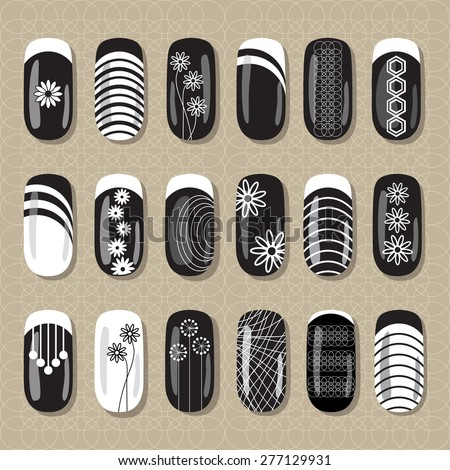 nail art design black and white ideas for manicure pedicure beauty salons