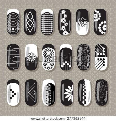 Nail Art Design Black White Set Stock Vector Royalty Free