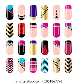 Nail art design. Geometric nail stickers template collection