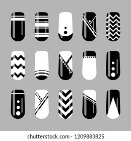 Nail art design. Vector set of black and white geometric nails template
