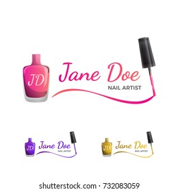 Nail Art Logo template with nail polish