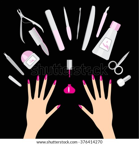 Nail Art Salon Concept Background Manicure Stock Vector Royalty