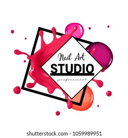 Nail Art studio logo design template.