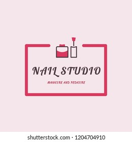 Nail art studio logo. Female manicure and pedicure icon. Design template for logo.