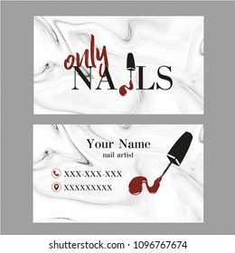 Nail Artist business card with logo. Vector Template