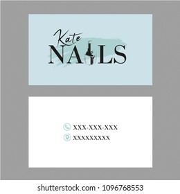Nail Artist business card with logo and nail polish bottle. Vector Template