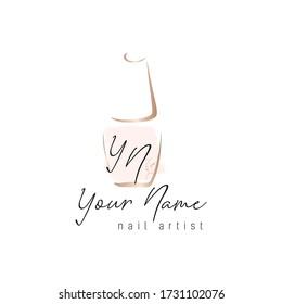 Nail artist logo design. Nail polish golden bottle. Vector template