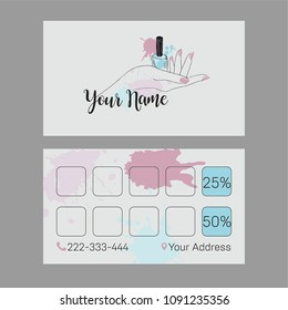 Nail Artist, Nail Salon business card, Nail salon logo. Vector template