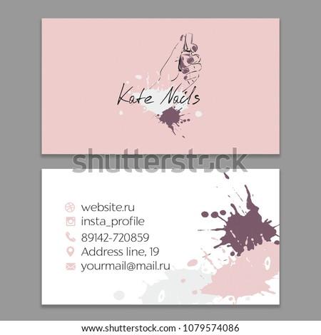 Nail artist nail salon business card stock vector royalty free nail artist nail salon business card with logo vector template colourmoves