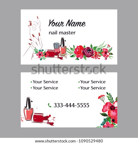 Nail Artist Nail Salon Business Card Stock Vector Royalty Free