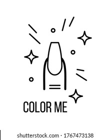 Nail artist or studio coloring page. Color me! No polish ballerina nail with sparkles.