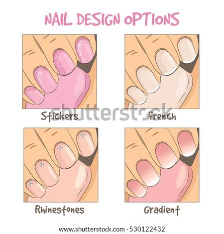 Nail Design Options French Manicure Rhinestones Image Vectorielle De