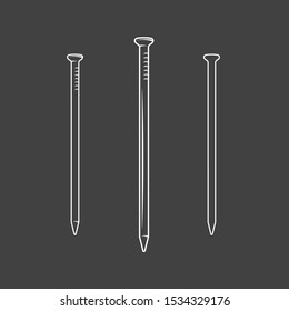 Nail. Element of the carpentry isolated on black background. Symbol for carpentry design labels and emblems. Vector illustration