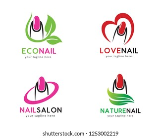 Nail Logo, Logo collection set, Concept design, Symbol, Icon