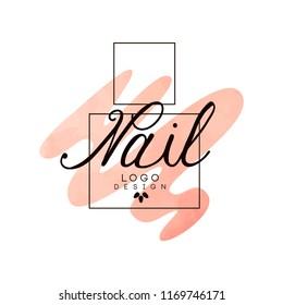 Nail logo, design element for nail bar, manicure studio, manicurist technician vector Illustration on a white background
