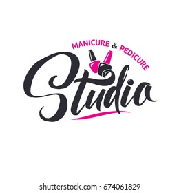Nail Master Logo Beauty Vector Lettering. Manicure Custom Handmade Calligraphy. Vector Illustration.