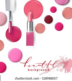 Nail polish. Beauty and cosmetics background. Use for advertising flyer, banner, leaflet. Template Vector.