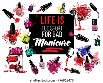 Nail polish bottles banner design set. Vector fashion sketch. Manicure salon watercolor illustration poster or logo. Red, pink, purple, beige lacquer colors.  Isolated on white background
