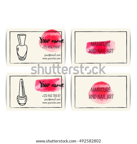 Nail Polish Business Card Vector Set Stock Vector Royalty Free