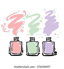 Nail polish colorful  jars, vector illustration