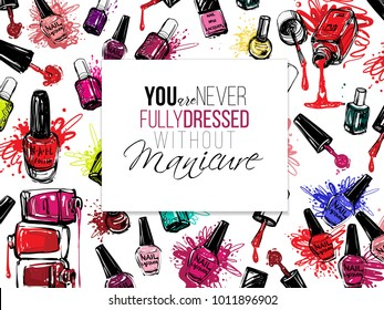 Nail polish flyer backdrop design. Vector fashion sketch. Manicure salon watercolor illustration poster or logo. Red, pink, purple, liquid lacquer colors.  Isolated on white background
