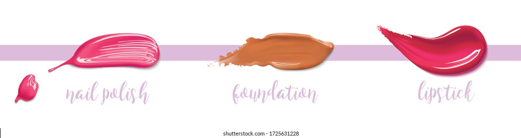 Nail polish, foundation lipstick make up smear stroke. Beauty and cosmetics minimalist concept. Cosmetic liquid foundation make up template. Elements for flyer, banner, leaflet