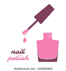 Nail polish, open bottle. Pink silhouette. Vector illustration