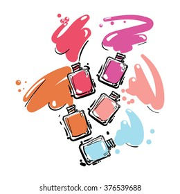 Nail polish set of jar, vector illustration