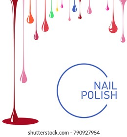 Nail polish spill. Template for advertising flyer, business card, manicure salon. Flat vector cartoon illustration. Objects isolated on white background.