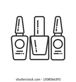 Nail polishes black line icon. Cosmetic product for manicure and pedicure. Nail service. Beauty industry. Pictogram for web page, promo. UI/UX/GUI design element. Editable stroke.