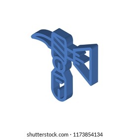 Nail Puller isometric left top view 3D icon