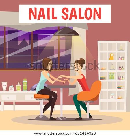 Nail Salon Background Manicure Pedicure Symbols Stock Vector