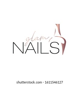 Nail Salon Logo Template. Rose Gold Nail Polish Bottle