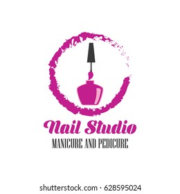 nail salon manicure pedicure logo with text space for your slogan / tagline, vector illustration