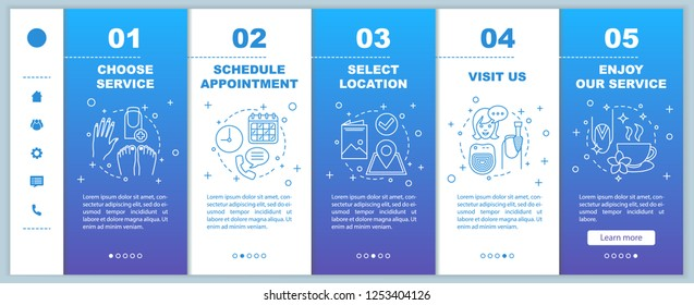 Nail salon onboarding mobile web pages vector template. Manicurist appointment. Manicure, pedicure service. Responsive smartphone website interface. Webpage walkthrough step screens