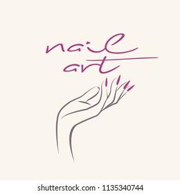 Nail salon vector icon.Woman hand with elegant nail polish manicure.Long nails logo.