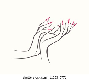 Nail salon vector logo.Illustration of woman hands with elegant, long nails beautiful manicure.Cosmetics and style icon.