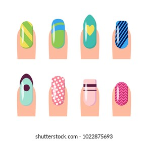 Nail service and art, poster with template fingernails and patterns painted on them, dots and hearts, stripes vector illustration isolated on white