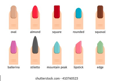 Nail shape icons. Types of fashion nail shapes. Vector illustration