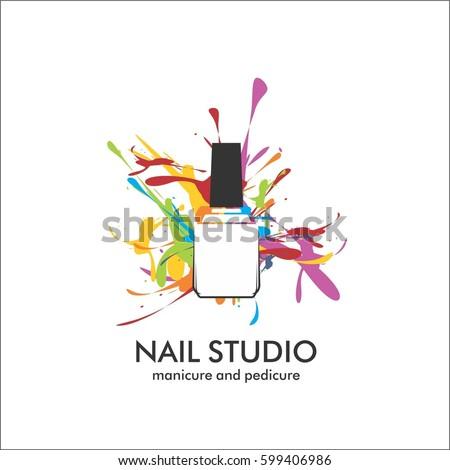 Nail Design Template | Nail Studio Design Template Logo Stock Vektorgrafik Lizenzfrei