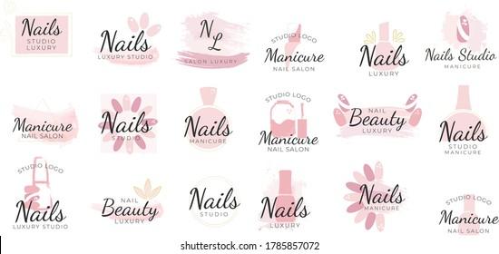 Nail studio logo design set, creative templates for nail bar, beauty salon. manicurist technician vector Illustrations on a white background. elegant clean minimal feminine logo templates.