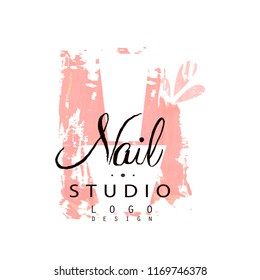 Nail studio logo design, template for nail bar, manicure saloon, manicurist technician vector Illustration on a white background