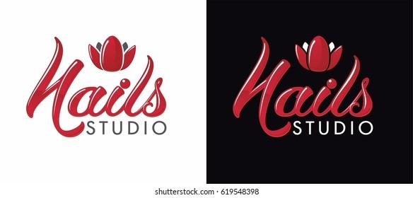 nail studio logo. Lettering