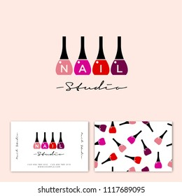 Nail studio logo. Multi-colored nail polish and letters. Nail polish on a light background. Identity. Business card.