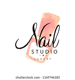 Nail studio luxury logo, design element for nail bar, manicure saloon, manicurist technician vector Illustration on a white background