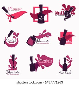Nail studio and manicure polish or varnish in bottle isolated icons with lettering vector brush and color splash beauty salon fingernails and toenails pedicure emblem or logo manicurist services.